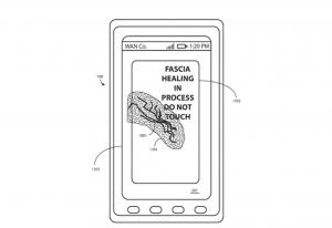 Patente descreve um material capaz de reagir ao calor, recuperando quebras e trincas na tela (Foto: Divulgação/USPTO)